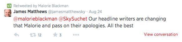 Sky apology